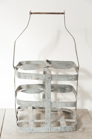Vintage French Galvanized Bottle Carrier - Decorative Antiques UK  - 1