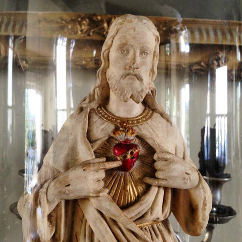 Vintage Sacred Heart Jesus Chalk Figurine - Decorative Antiques UK  - 1