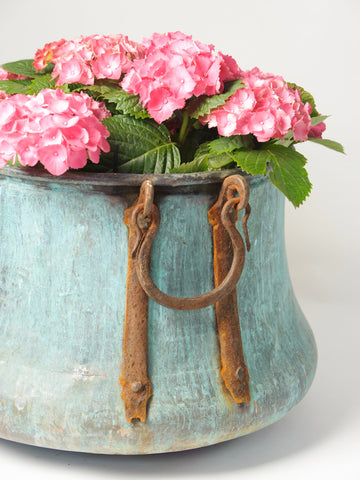 Amazing Antique French Copper Planter with Verdigris patina