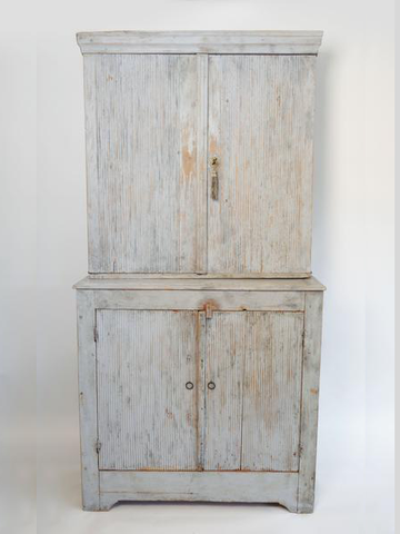 Antique Swedish Gustavian Country Cupboard with reeded front