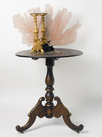 Antique French Ebonised Tilt top table with mother of pearl inlay