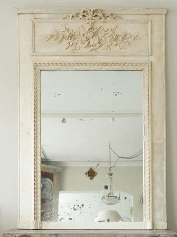 Antique French Painted Trumeau Mirror
