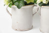 Antique Italian White Confit Pots with yellow rim