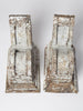 Pair large antique 18th Century wooden corbels with original paint