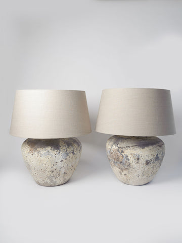 Beautiful large Barnacled textured jar lamps with natural linen shades