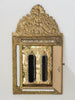 20TH CENTURY BRASS HALL CUSHION MIRROR CABINET
