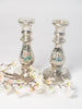 Pair antique French Mercury glass candlesticks