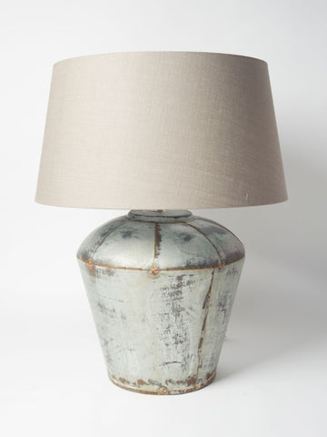 Beautiful Pair Large Metal Table Lamps with Linen Shades