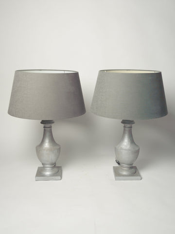 Pair Silver Wooden Table Lamps with shades
