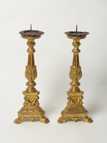 Pair Antique French Gilt Pricket Candlesticks