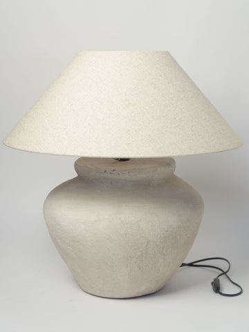 Pair Beautiful Large Textured Jar lamps with Linen shade