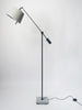 Frezoli Floor Lamp with stone base and grey linen shade