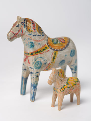 Antique Swedish hand painted Dala horse (tiny)