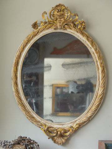 Antique French Crested Oval Mercury Mirror