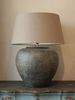 Pair Huge Terracotta Jar Table Lamps with Linen lampshades - Decorative Antiques UK  - 1