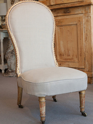 Pretty Antique French Gilt framed Low chair reupholstered in Beige Linen - Decorative Antiques UK  - 1