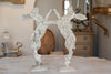 Gorgeous Pair Aged Metal Boxing Hares on Stands - Decorative Antiques UK  - 2