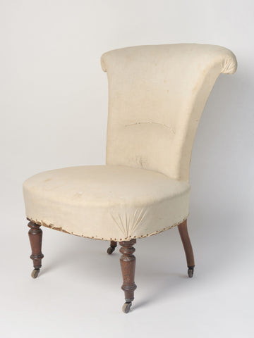 Antique French Scroll Back Slipper Chair, original calico
