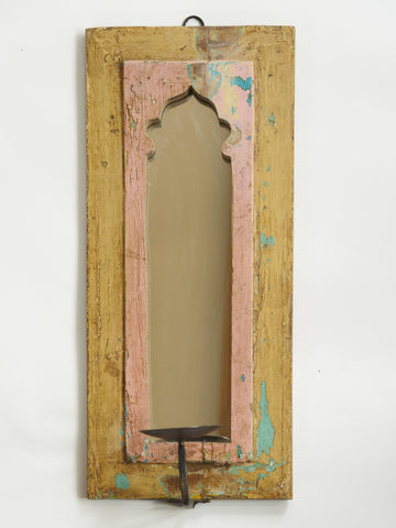 Handcrafted Indian Wall Mirror with Iron candleholder