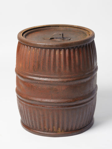 Vintage German Metal Barrel container, with lid