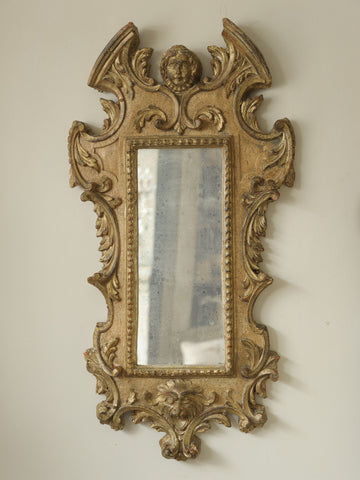 Antique Swedish Wooden Carved wall mirror
