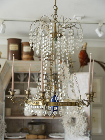 Antique Swedish Brass and Crystal Chandelier Candelabra