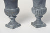 Pair Small Vintage French cast iron urns