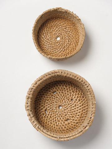 Pair Antique Swedish Cheese Baskets