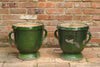 Pair Antique French Castelnaudary Green Urns