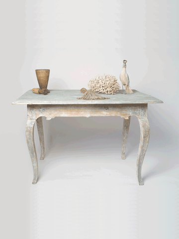 Antique 18th Century Swedish Rococo Table, dry scraped