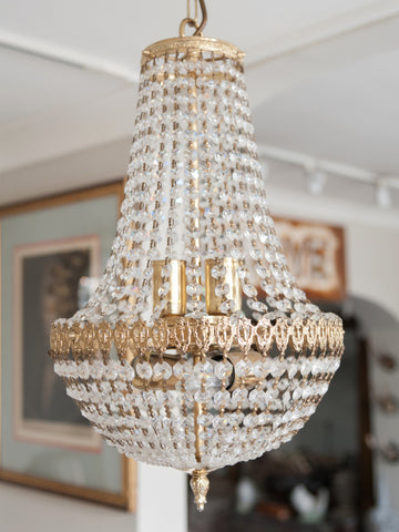 Beautiful Vintage Mid Century Crystal Bag Chandelier - Decorative Antiques UK  - 1