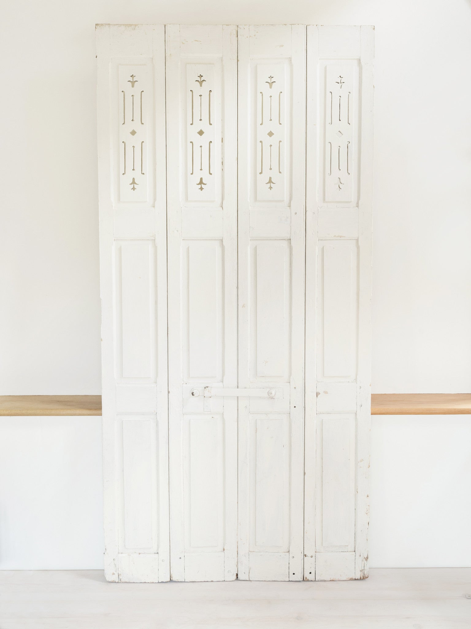 Beautiful Pair White Antique French Shutters With Cut Out
