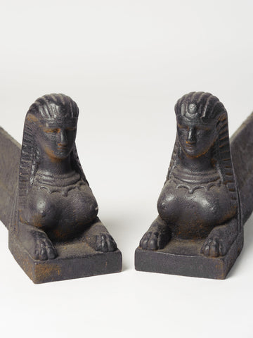 Pair Cast Iron French Sphinx Form Andirons-Firedogs