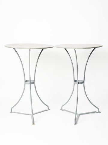 Beautiful French Bistro Tables with Painted Grey bases