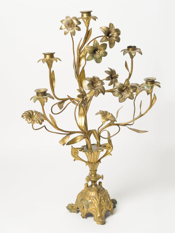 Antique French Floral Gilt Church Candelabras