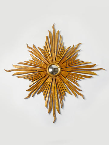 Amazing Large Hand Carved Gilt Sunburst Mirror