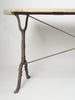 Antique French Cast Iron Bistro table with wooden top