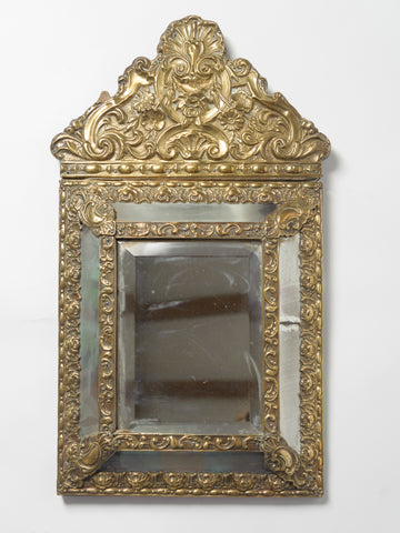 Antique French Brass Repousse Cushion Mirror