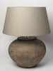 Pair Dutch terracotta jar lamps with linen shades