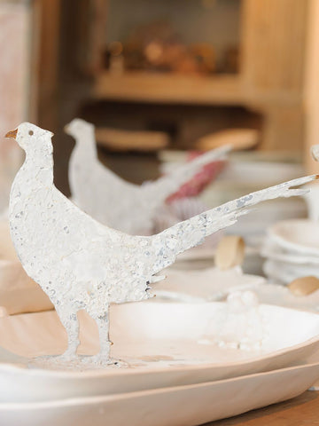 Handcrafted metal mini Pheasants on stand