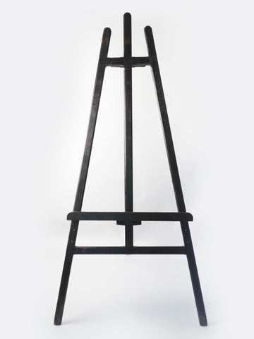 Large Antique French Wooden Tripod Easel with original black paint