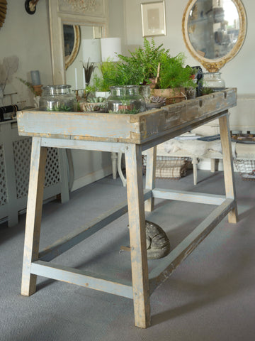 Antique French Potting Bench Table with original paint