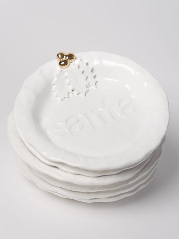 Marigold and Lettice Santa Treat plate with gold berries