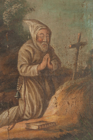 Antique 17th/18th Oil Painting of Saint Anthony the Abbot
