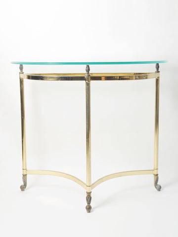 Rare Mid Century Brass & Glass Demi-Lune console table