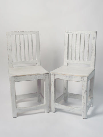 Pair Antique Swedish Leksand style chairs