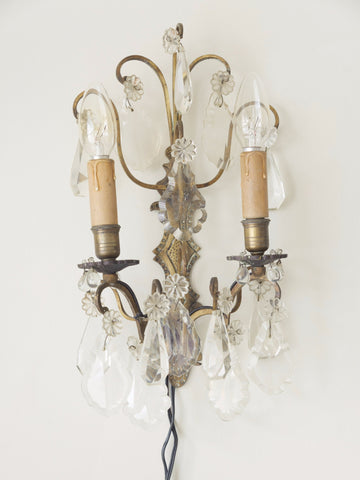 Pair Vintage French Crystal Wall Lights
