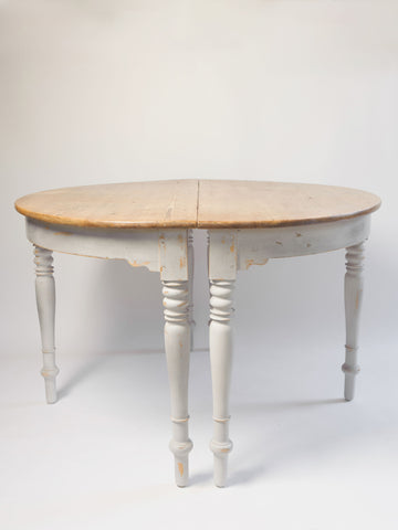 Antique Swedish Demi Lune Tables with original addition leaves