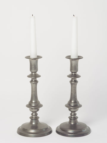 Antique Pewter push up Candlesticks