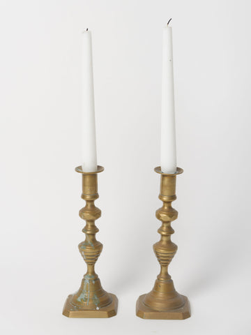 Antique French Brass Push up Candlesticks